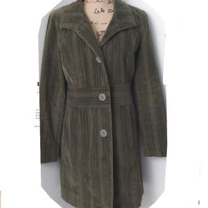 J Jill Corduroy Green Coat Long Size Med